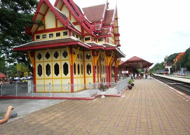 The architecture of the 104-year-old Hua Hin train station is typically Thai